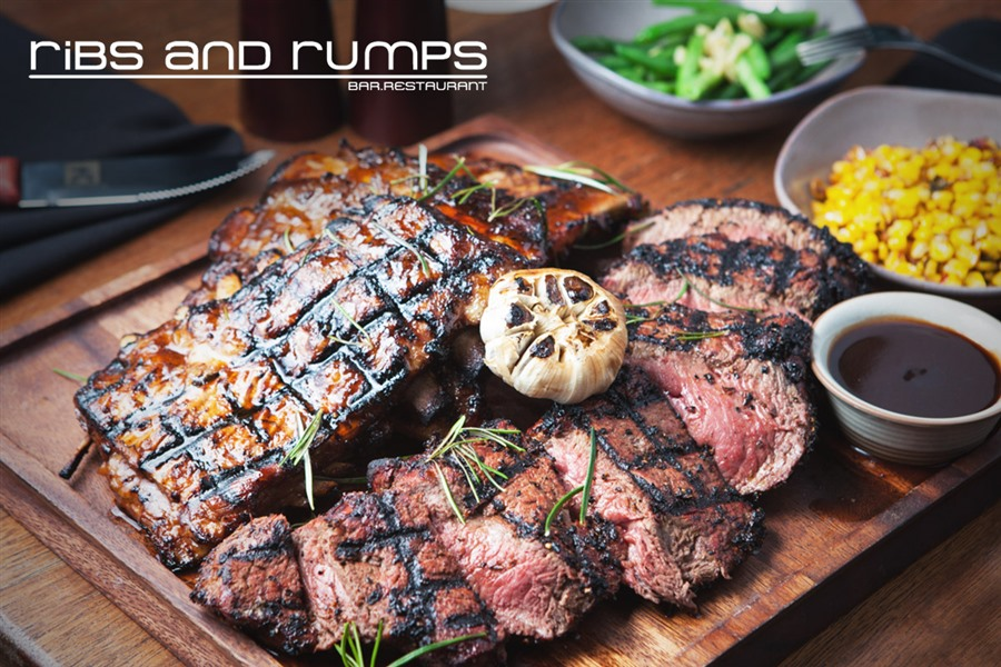 Mammoth 1kg Angus Rump with Ribs, Sides & Sauces