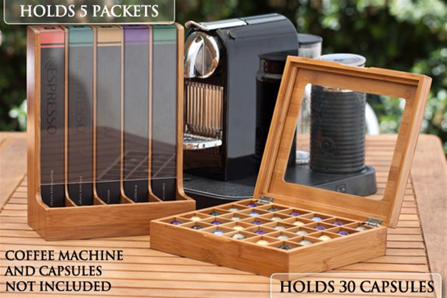 Bamboo Coffee Capsule Storage Set That S Perfect For